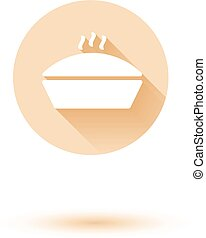 Vector casserole hot cooking icon white isolated on black