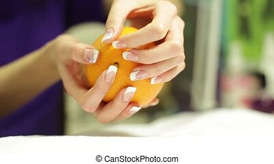Girl Holding An Orange HD
