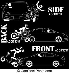 Car accident, motorcycle vector style
