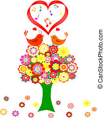 love - Tree in colorful flower with love bird on white...