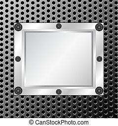 metal texture with silver frame on - vector illustration of...