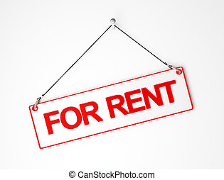 for rent white and red signal board 3d background
