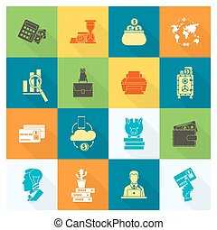 Business and Finance Icon Set - Business and Finance, Flat...