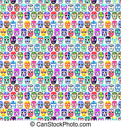 Luchador or fighter mask set. Seamless pattern with...