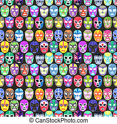 Luchador or fighter mask set Seamless pattern with...