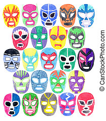 Luchador or fighter mask set Hand-drawn lucha libre free...