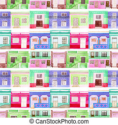 Old colorful house set. Seamless pattern with hand drawn...