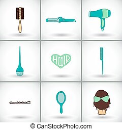 Hairdressing tools icon set. Hand-drawn cartoon collection...