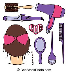 Hairdressing tools set. Hand-drawn cartoon collection of...