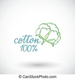 Cotton flower Hand-drawn organic cotton icon Vector...