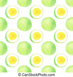 Passion fruit or maracuya Seamless pattern with fruits -...