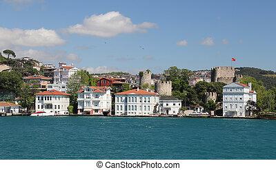 Buildings Istanbul City, Turkey - Buildings in Bosphorus...