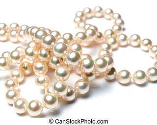 Pearly pearls - Closeup view of a luxury necklace made of...