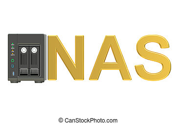 NAS, Network-attached storage 3D rendering isolated on white...