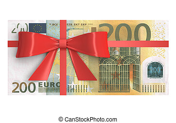 Wad of 200 Euro banknotes with red bow, gift concept. 3D...