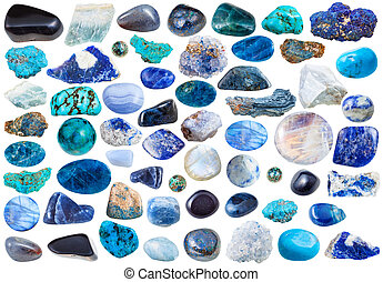 set of blue mineral stones and gems isolated - set of blue...