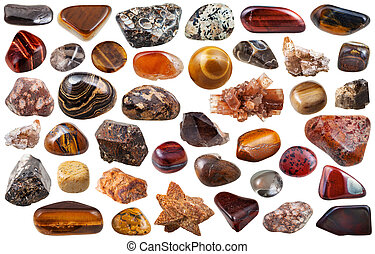 set of brown mineral stones and gems isolated