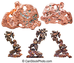 set of various native copper natural stones