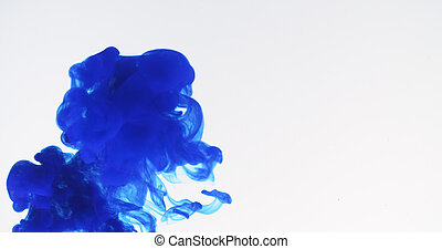 blue ink spreading in water, 4k photo