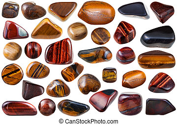 set of various tiger-eye natural mineral stones and...