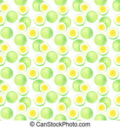 Passion fruit or maracuya. Seamless pattern with fruits -...