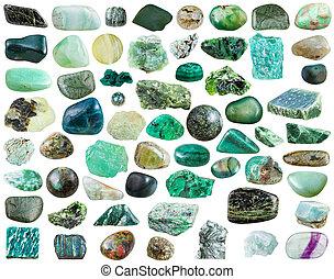 Conjunto, de, verde, mineral, piedras, y, piedras preciosas,...