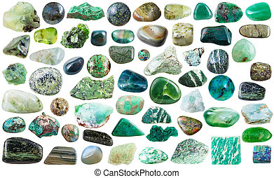 set of green mineral stones and gems isolated