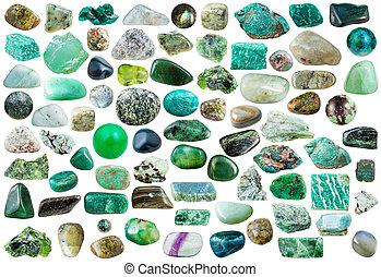 Conjunto, de, verde, piedras, Cristales, y, piedras...