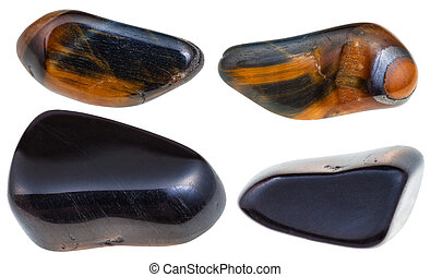 set of various hawks eye gemstone isolated - set of various...