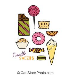 Hand drawn icon set of cookies, cho - Hand drawn colorful...