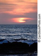 close up of sunset sun