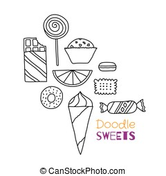Hand drawn icon set of cookies, chocolates, cakes and...