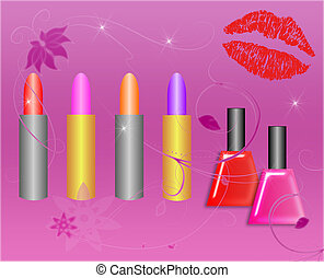 Lipstick and Nail Polish on a Starry Background - Assorted...