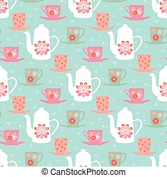 Vector pattern teapot and mugs - Vintage seamless vector...