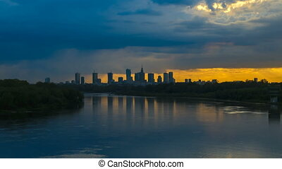 Timelapse with Cityscape of Warsaw - Timelapse with view on...