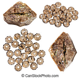 set of zircon crystals and beads isolated - set of zircon...