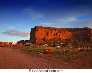 Road of Monument Valley at Sunset
