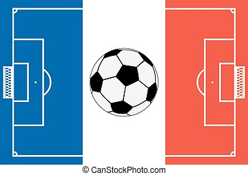 Template realistic soccer field with lines and gate on the...