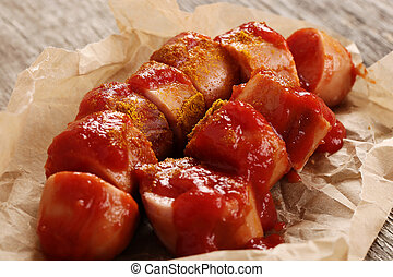 Curry wurst - Food. Curry wurst with ketchup