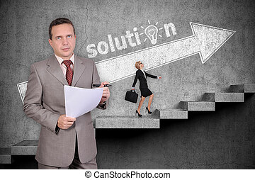 success concept - Businessman with paper. Businesswoman with...