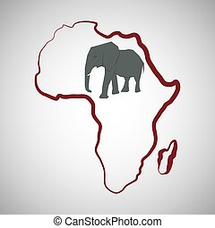 Africa design map icon Flat illustration - Africa concept...
