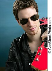 guitar rock star man sunglasses leather jacket - guitar rock...