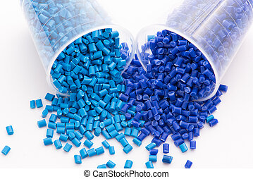 blue thermoplastic resins - 2 different dyed blue plastic...