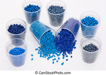 several blue plastic granulates - a variety of blue...