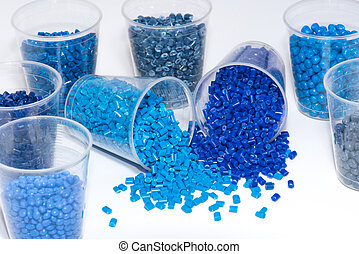 selection of blue thermoplastic resin - a variety of...