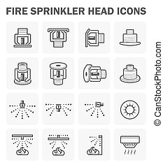 Fire sprinkler icon - Fire sprinkler head icon sets design.