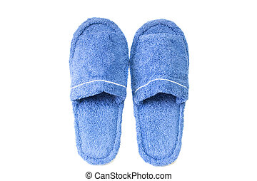 Blue slippers isolated on a white background