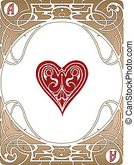 Heart Ace Card - LIberty style poker playing cards, vector...