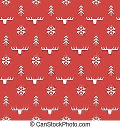 Deer, tree and snowflake pattern