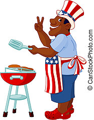 Funny Man with Uncle Sam Hat - Man cooking A Hamburger...